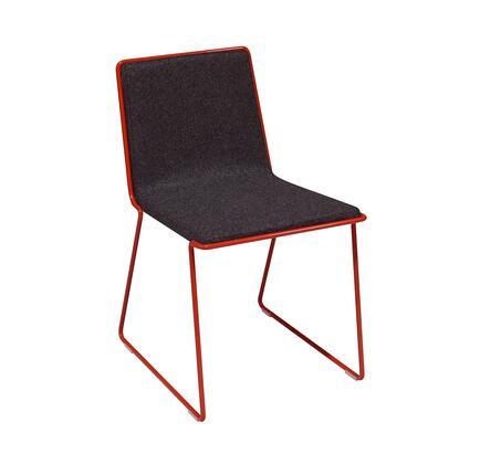 Jones 100-BT-BLCR-CUZ30-R Chair in Dark Grey Wool and Red Metal