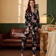 Schlafanzug Set mit Blumen & Tier Muster