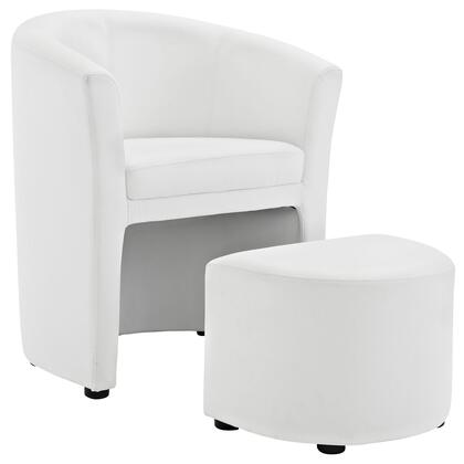 Divulge Collection EEI-1407-WHI Armchair and Ottoman with Wood Frame  Protective Foot Caps  High Dense Foam Padding  Self Storage Tuck Away Ottoman