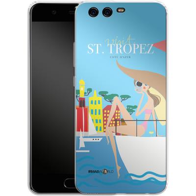 Huawei P10 Silikon Handyhuelle - ST TROPEZ TRAVEL POSTER von IRMA