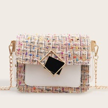 Geometric Decor Tweed Chain Crossbody Bag