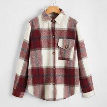 Plaid Button Through Overcoat