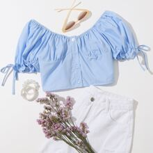Frill Sleeve Shirred Back Crop Blouse