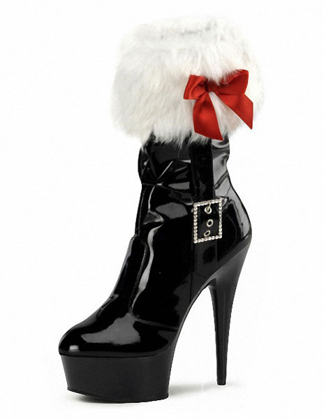 Milanoo Xmas Red Platform Boots Fur Trim Patent Leather Heels for Women