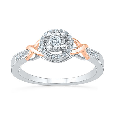 Promise My Love Womens 1/6 CT. T.W. Genuine White Diamond 10K Gold Over Silver Promise Ring, 9 , No Color Family