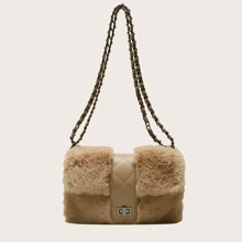 Quilted Turn-lock Fluffy Shoulder Bag