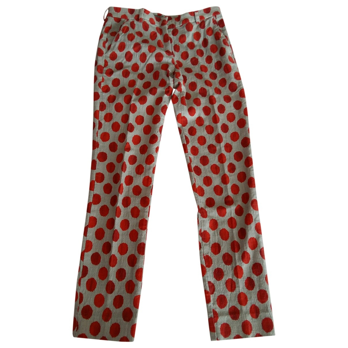 Maliparmi \N Ecru Cotton Trousers for Women 40 IT