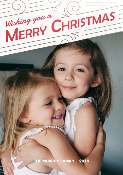 Christmas Photo Cards 5x7 Cards, Standard Cardstock 85lb, Card & Stationery -Happy Swirls of Merry