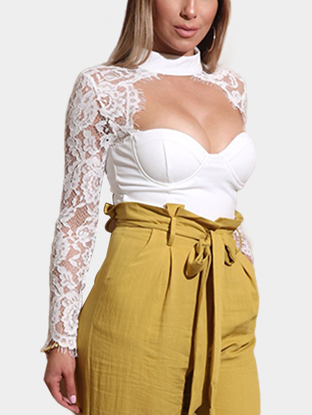 Yoins White Cut Out Front Lace Insert Crop Top with Padded Cups