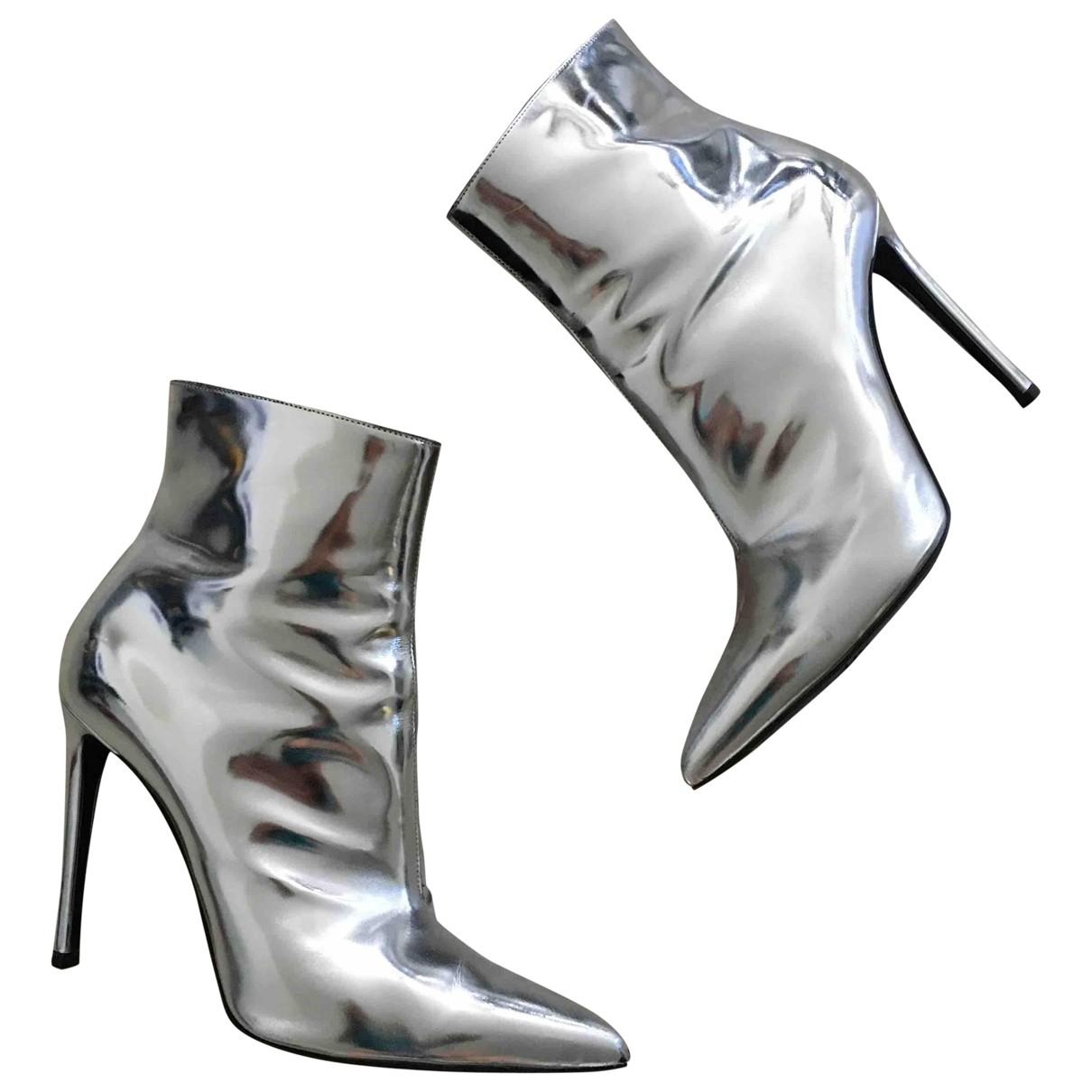 Balenciaga Slash Stiefeletten in  Silber Leder
