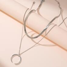 2 Stuecke Halskette mit Mond Dekor
