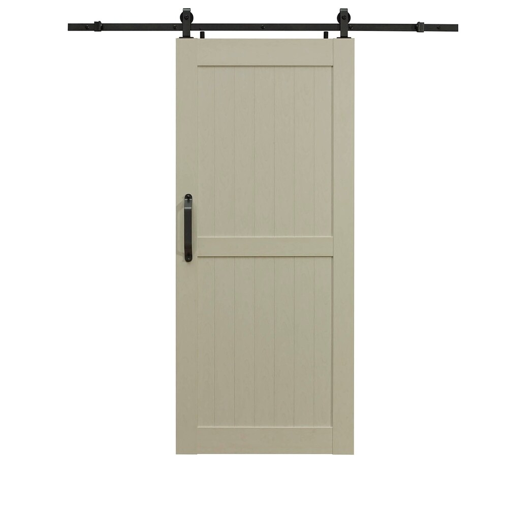 Montana White Ash Barn Door Room Divider 36X84 (Off-White - Wood Finish - Plastic)