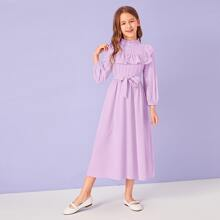 Girls Ruffle Trim Eyelet Embroidered Belted Dress