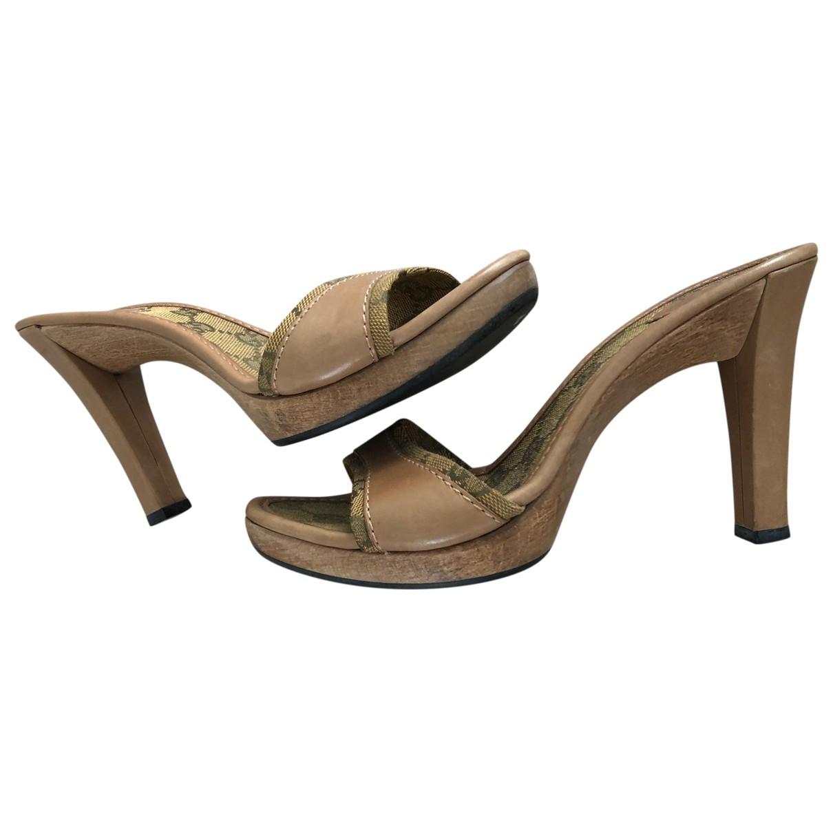 Gucci - Sandales   pour femme en toile - camel
