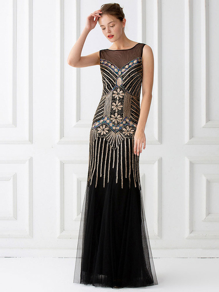 Milanoo 1920s Fashion Style Outfits Flapper Dress Sequin Ruffle Great Gatsby Costume Mermaid Women's Retro 20s party Dress