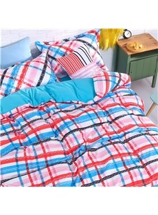Colorful Plaid Pattern 4-Piece Polyester Bedding Sets/Duvet Cover