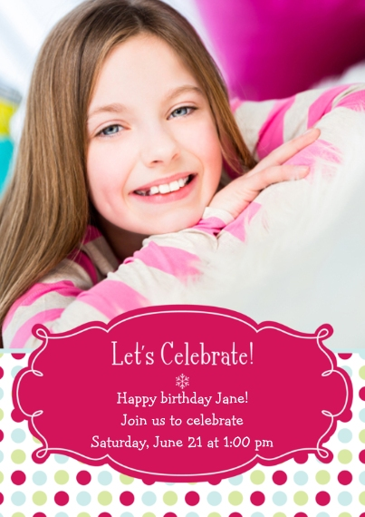 Kids Birthday Party 5x7 Cards, Premium Cardstock 120lb with Elegant Corners, Card & Stationery -Polka Dot Celebration