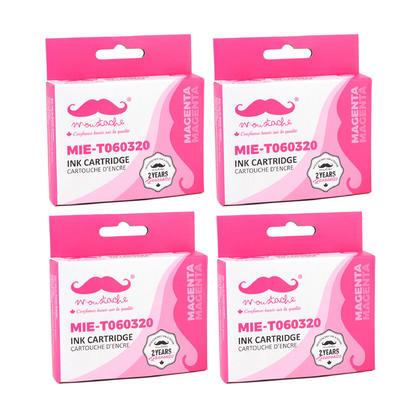 Compatible Epson 60 T060320M Magenta Ink Cartridge - Moustache@ - 4/Pack