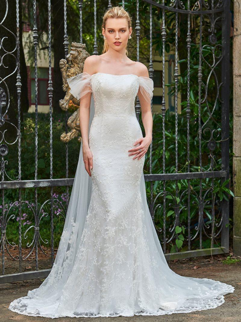 Ericdress Off The Shoulder Lace Mermaid Watteau Train Wedding Dress