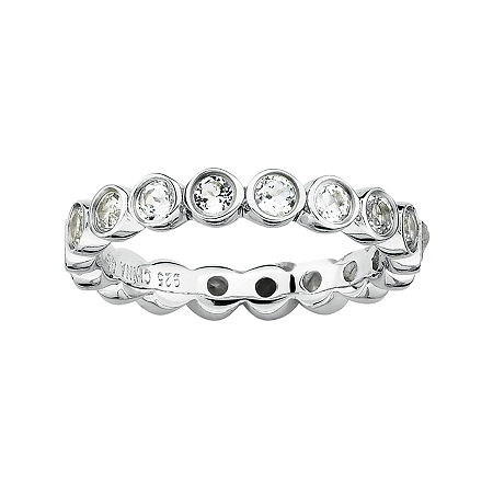Personally Stackable Genuine White Topaz Sterling Silver Eternity Ring, 7 , No Color Family