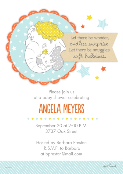 Baby Shower Invitations 5x7 Cards, Premium Cardstock 120lb, Card & Stationery -Sweet Mom and Baby - Dumbo
