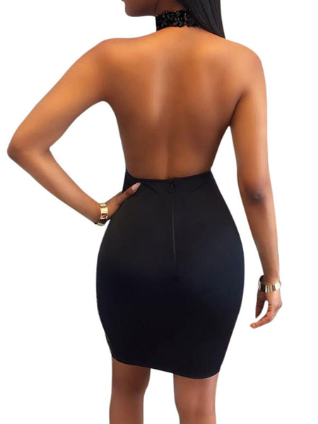 Milanoo Black Club Dress Sheer Sequins Sleeveless Backless Sexy Dress