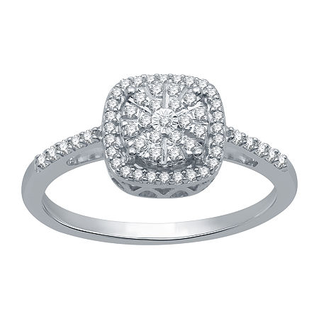 Ever Star Womens 1/4 CT. T.W. Lab Grown Diamond Sterling Silver Round Cocktail Ring, 8 , No Color Family