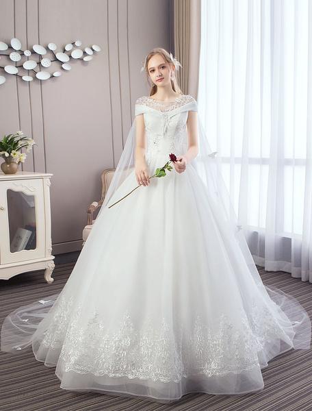 Milanoo Vestidos de novia de la princesa de encaje Watteau tren apliques con cuentas vestidos de novia