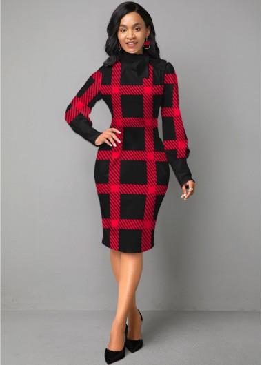 Christmas Rosewe Holiday Dress Plaid Long Sleeve Bowknot Sheath Dress - XS