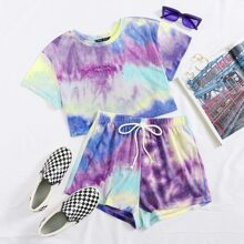 Crop Top mit Batik & Shorts Set