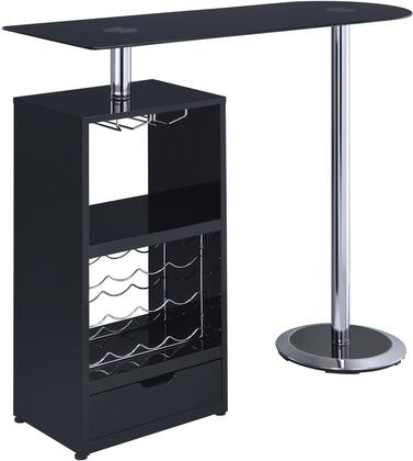 120451 Bar Table with 12 Bottle Wine Rack  Drawer  Tempered Frosted Glass Top  Stemware Rack and Chrome Base in Black