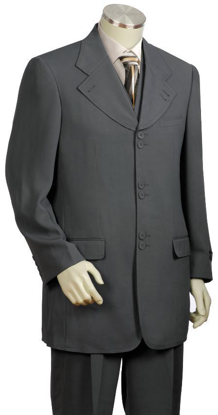 3 Piece 6 Button Grey Vested Zoot Suit Mens