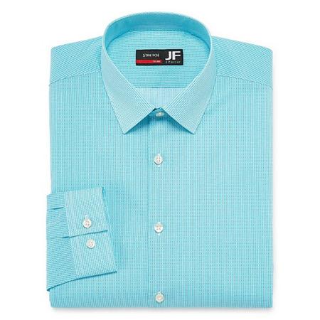 JF J.Ferrar Mens Point Collar Long Sleeve Stretch Dress Shirt, 18.5 34-35, Blue