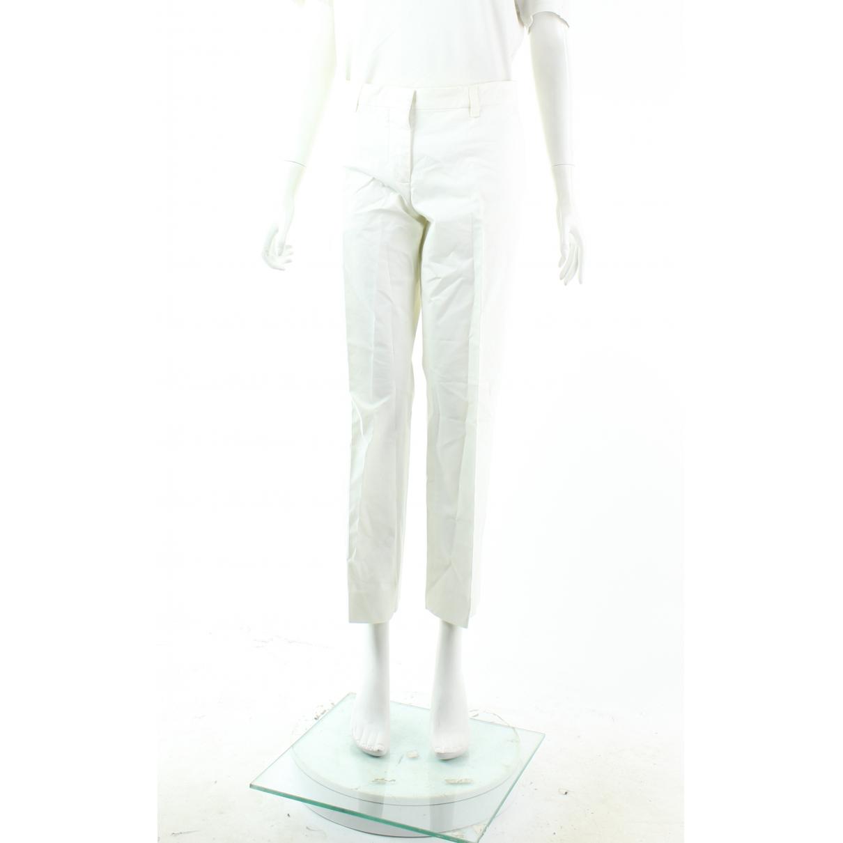 Miu Miu N White Cotton Trousers for Women 46 FR