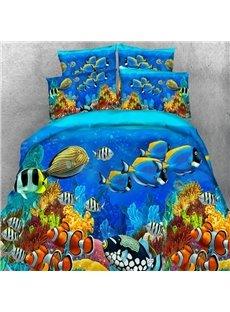 3D Colorful Sea Fish Printed Tencel 5-Piece Comforter Sets