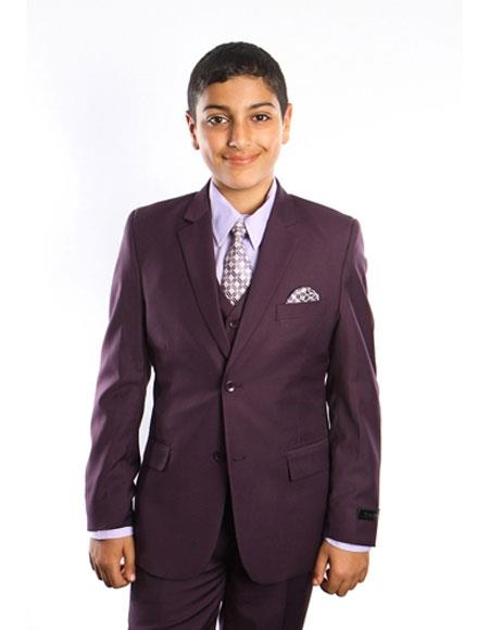 Boy's Kids Toddler Color Children Suits Vested 2 Button Solid Purple