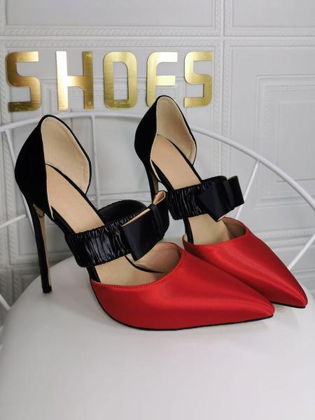 Milanoo High Heels Stiletto Slip-On Pointed Toe Color Block Stiletto Heel Bows Elegant Plus Size Women's Shoes