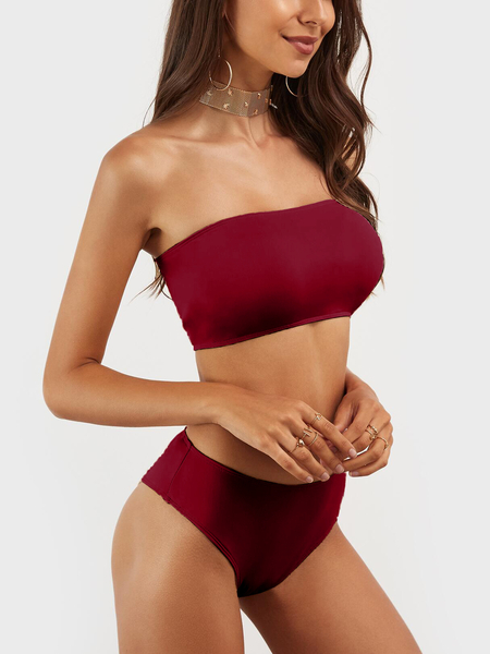 Yoins Burgundy Casual Sleeveless Tube Top Bikini Set