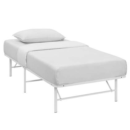 Horizon Collection MOD-5427-WHI Twin Size Platform Bed Frame with Non-Marking Foot Caps  Modern Style and Heavy Duty Stainless Steel Frame
