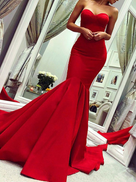 Milanoo Evening Dress Mermaid Sweetheart Neck Sleeveless Zipper Satin Fabric Formal Dinner Dresses With Train