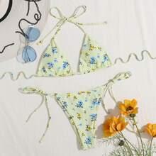 Dreieckiger Bikini Badeanzug mit Blumen Muster und seitlichem Band