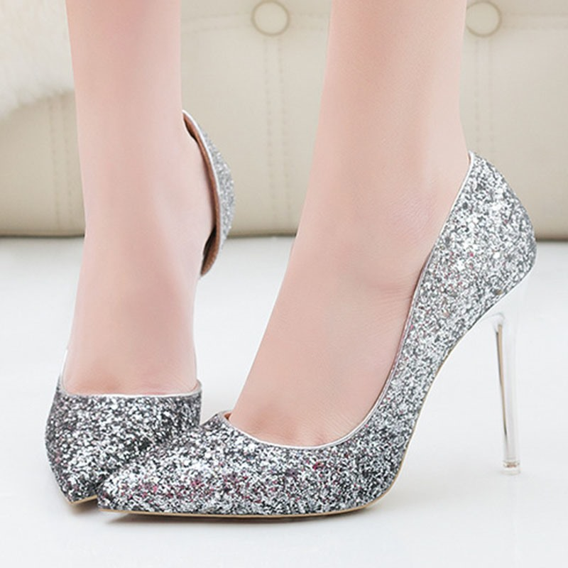 Ericdress Pointed Toe Slip-On Sequin Low-Cut Upper Thin Shoes