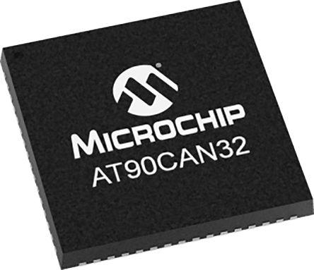 Microchip AT90CAN32-16MU, 8bit AVR Microcontroller, AT90, 16MHz, 32 kB Flash, 64-Pin QFN (260)