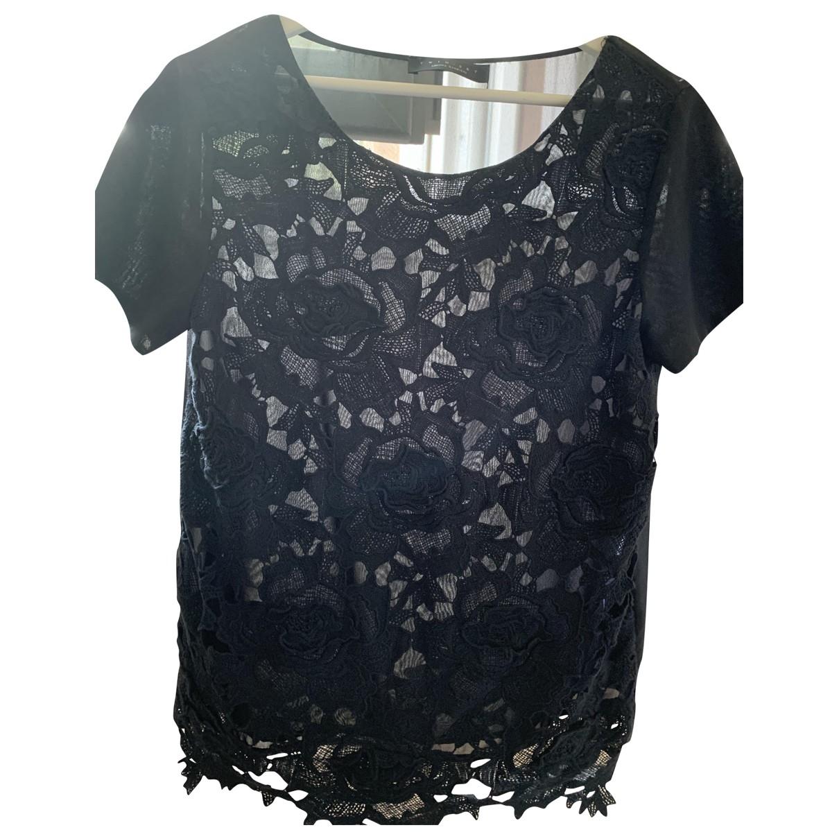 Twin Set - Top   pour femme en coton - noir