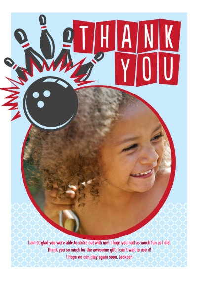 Kids Mail-for-Me Premium 5x7 Flat Card, Card & Stationery -Let's Bowl Thank You