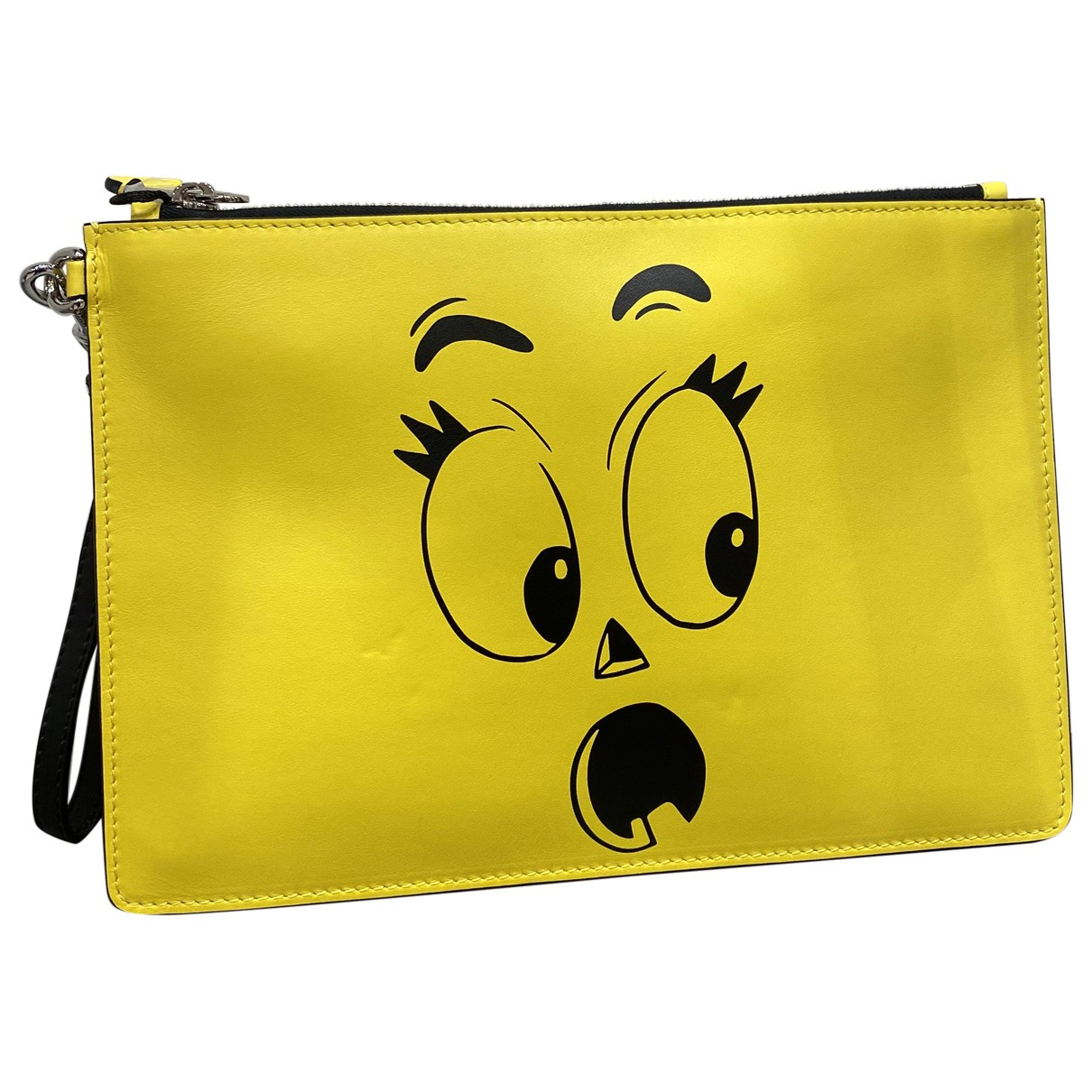 Moschino N Yellow Leather Clutch bag for Women N
