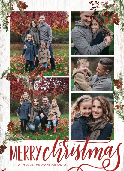 Christmas Photo Cards 7x10 Seal & Send Cards, Card & Stationery -Christmas Memories Floral by Tumbalina