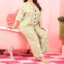 Schlafanzug Set mit Revers Kragen, Punkten Muster und Rueschenbesatz