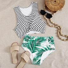 Bikini Badeanzug mit tropischem & Streifen Muster, Twist und hoher Taille
