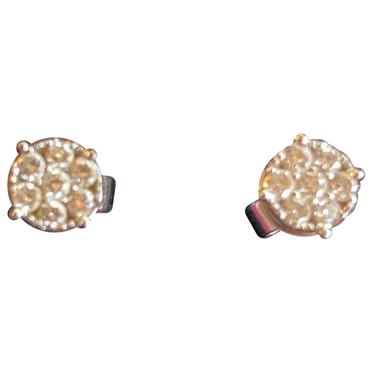 - Boucles doreilles Dormeuses pour femme en or blanc - metallise